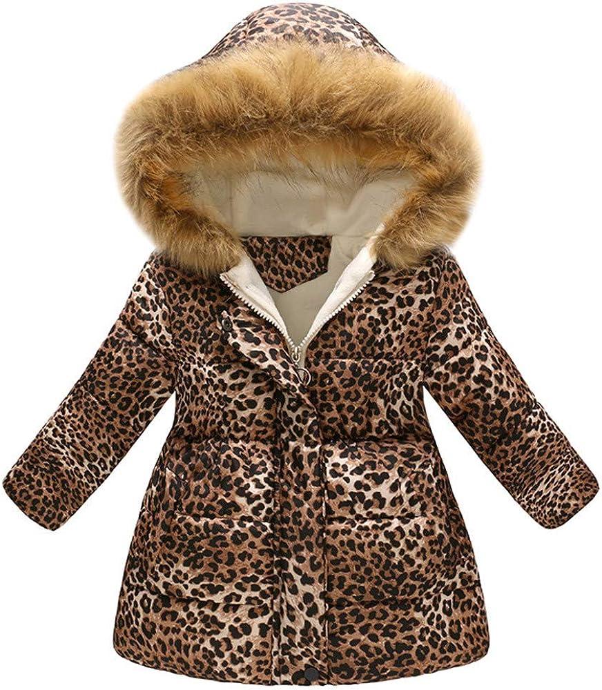Topgrowth Cappotto Bambina Ragazza Incappucciato Giubbotto Inverno Antivento Giacca Neonato Stampare Cappotti Leopardato Capispalla con Cappuccio