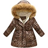 KONFA Teen Toddler Baby Girls Boys Winter Warm Clothes,Fur Hooded Cotton Jacket Wind Coat,Kids Thick Leopard Print…