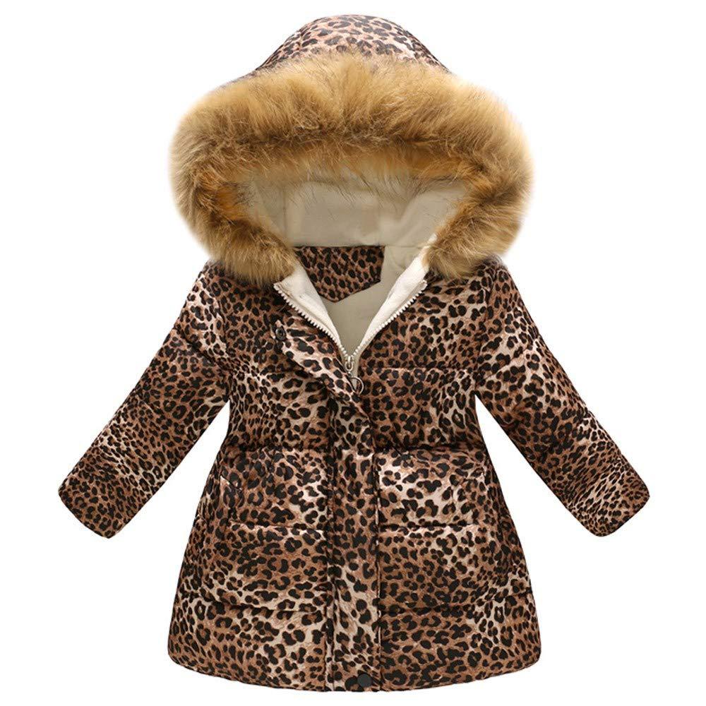 Baby Girls Hooded Snowsuit Winter Warm Light Fur Collar Hooded Down Windproof Jacket Outerwear Khaki by PLENTOP