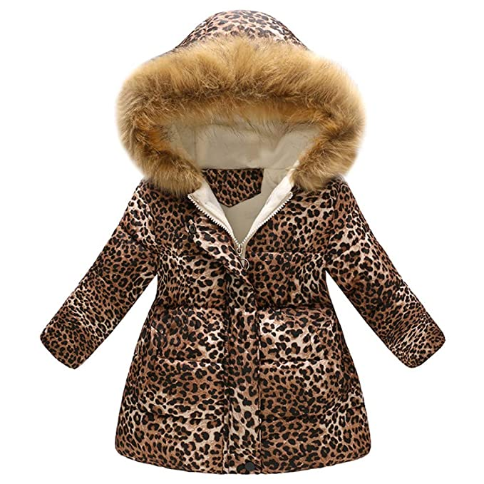 756fbae07bb Autumn Winter Girls Coat,Fineser Little Girls Thick Warm Fur Hooded Jacket  Windproof Coat Leopard Print Long Sleeves 2-7T