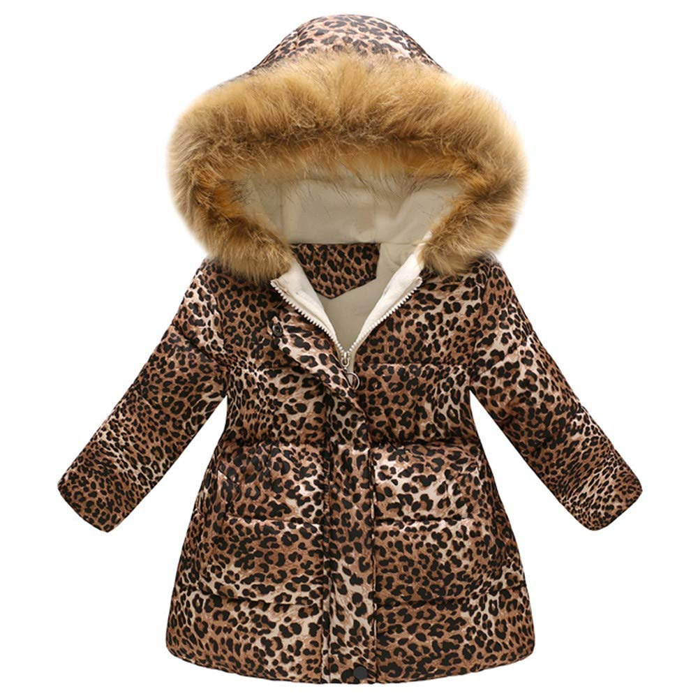 Autumn Winter Girls Coat,Fineser Baby Little Girls Thick Warm Fur Hooded Jacket Windproof Coat Leopard Print Long Sleeves 2-7T (Khaki, 5-6 Years(140)) by Fineser Baby Clothes (Image #1)