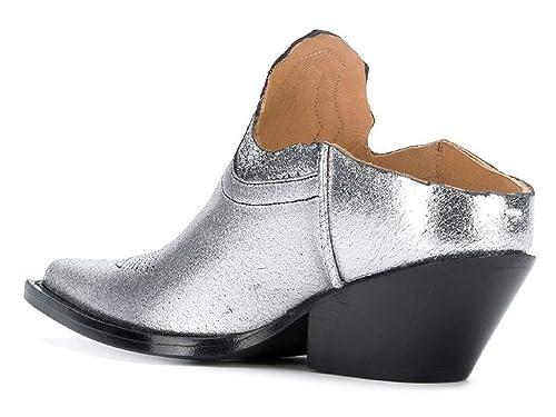 Maison Margiela Zapatillas de Mujer en Laminado Plateado con tacón texano - Número de Modelo: S58WU0231P1987: Amazon.es: Zapatos y complementos