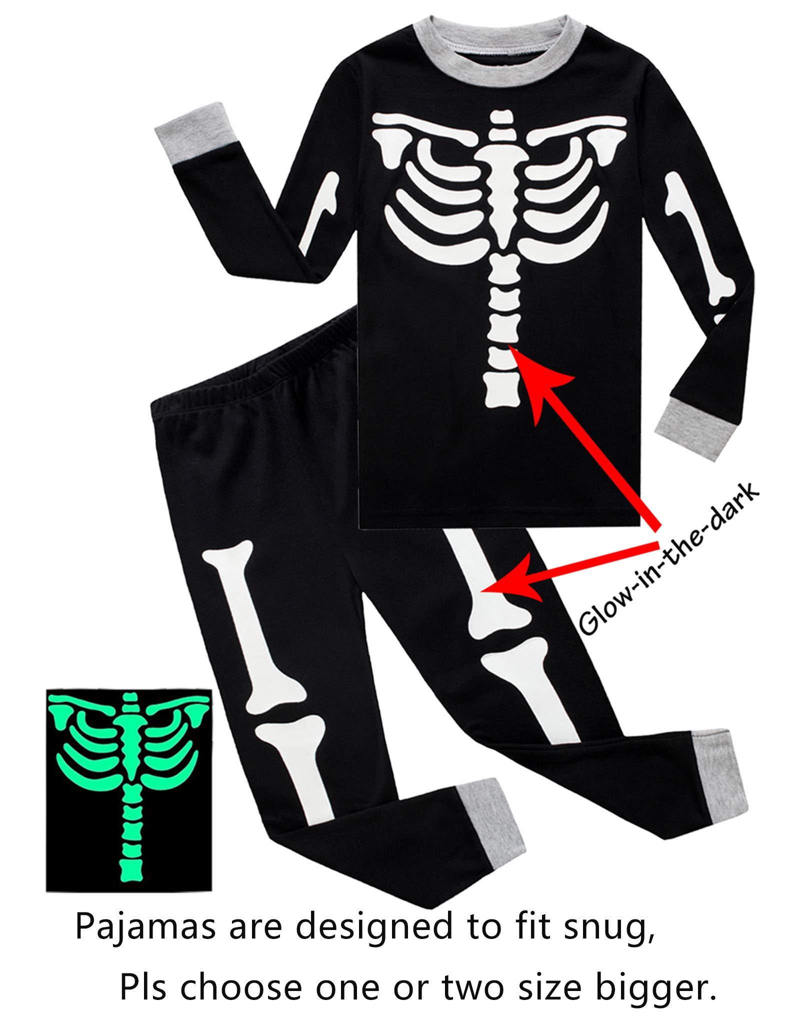 8854eb005028 Galleon - Little Boys Girls Skeleton Halloween Pajamas Sets Glow In ...
