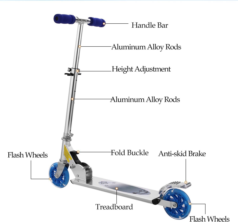 Amazon.com: Hikole - Patinete para niños con ruedas LED de ...