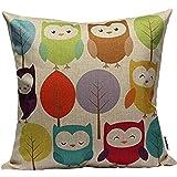 "Decorbox Cotton Linen Square Throw Pillow Case Decorative Cushion Cover Pillowcase Cartoon Cute Owls and Trees 18 ""X18 """