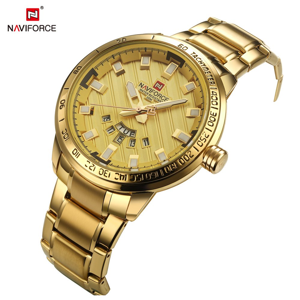 Amazon.com: NAVIFORCE 9090 (All Gold) Mens Sports Waterproof Stainless Steel Week Calendar Display Quartz Watch: Watches