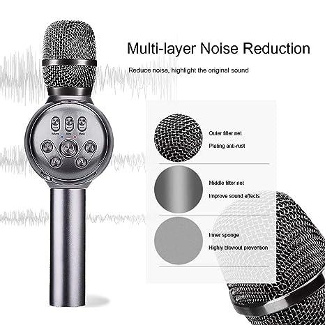 LUCKLLY - Micrófono inalámbrico Bluetooth Karaoke con luces LED ...
