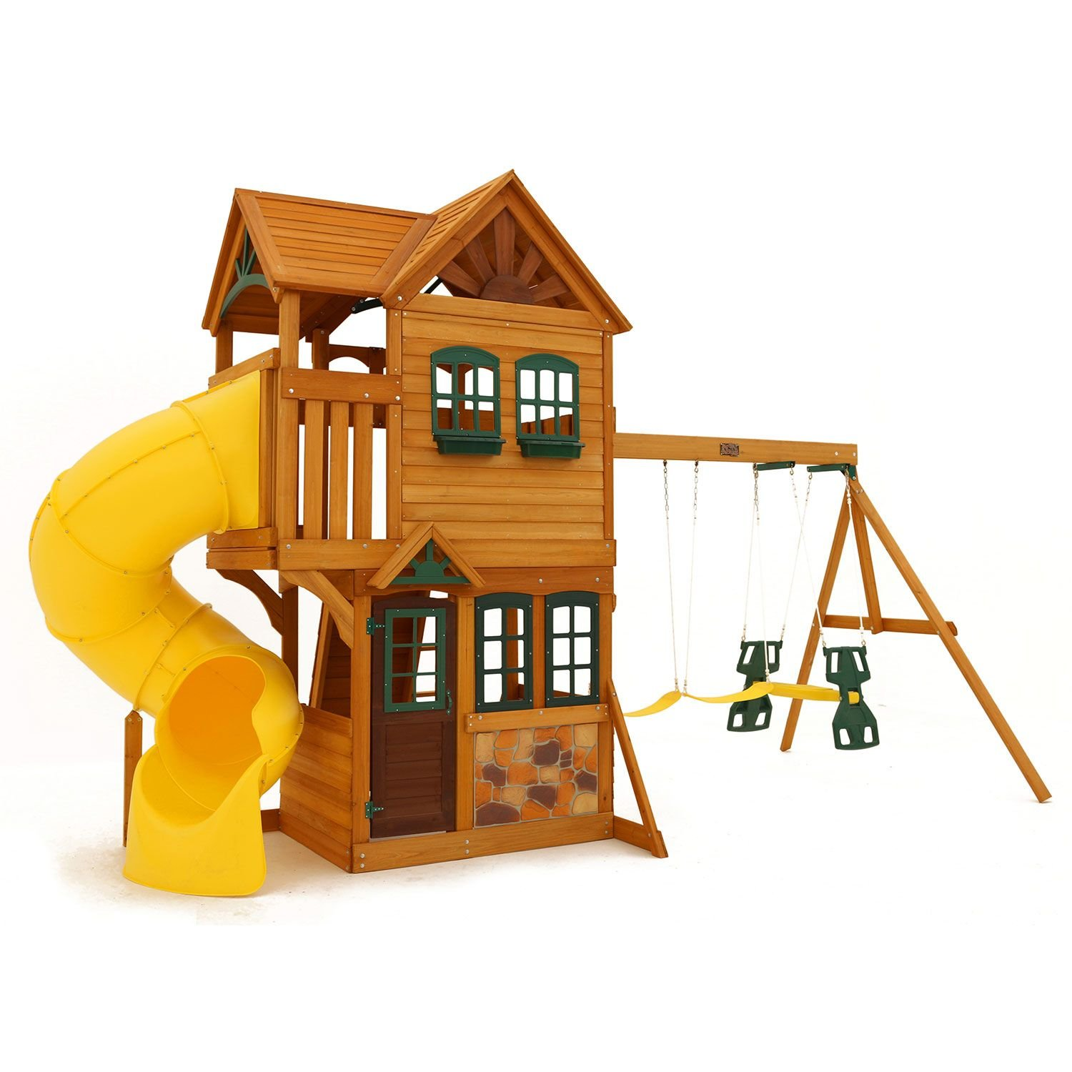 Amazon Cedar Summit Play Set Wooden House Deck Swings