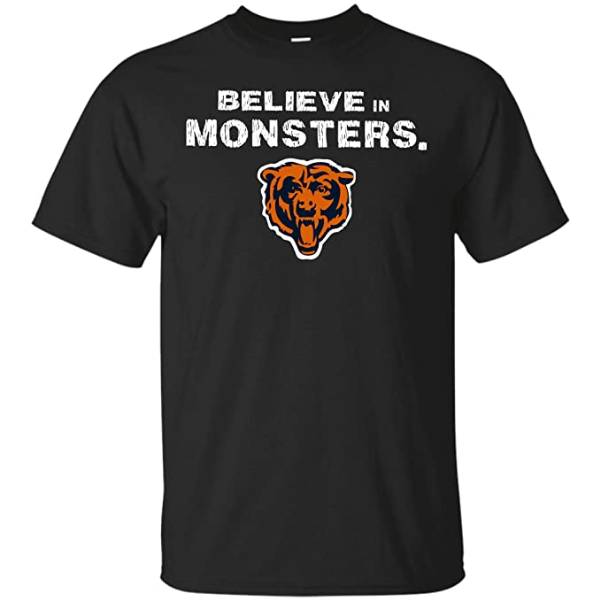 release date 8cbcc e504a Believe in Monsters Chicago Bears Football Retro T Shirt Hoodie Long Sleeve  for Men Women (Unisex T-Shirt;Black;2XL)