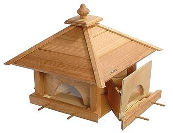 Luxus Vogelhaus Large Oak Birdfeeder 4 Drawers With Silo And 8