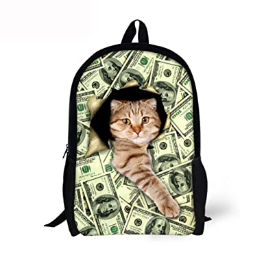 Amazon Com Money Pattern Cat Print Kids Backpack Children Bookbag