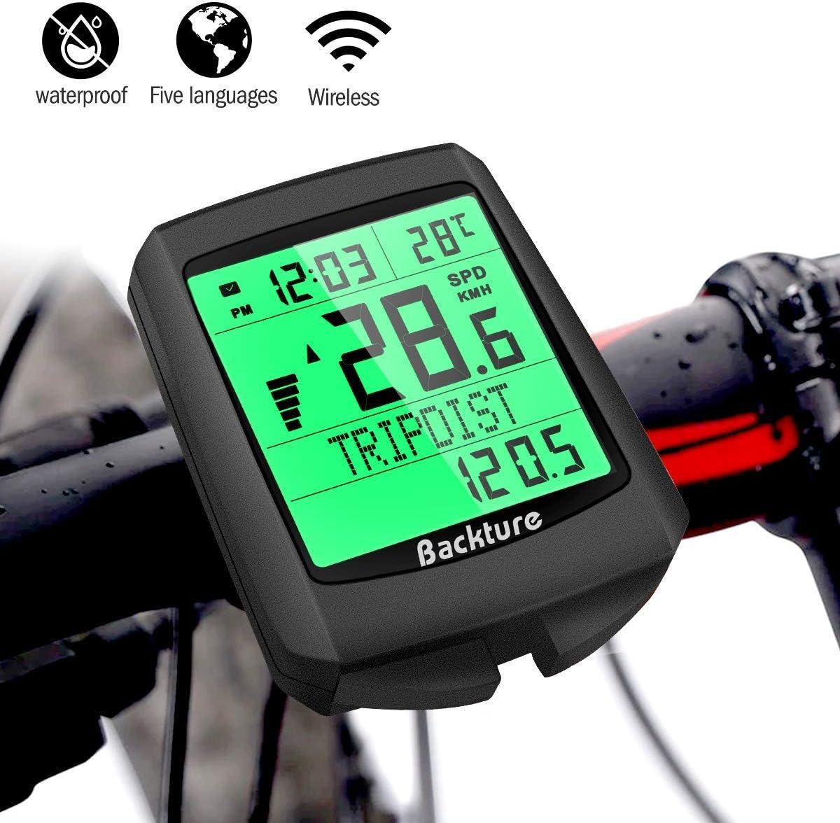 BACKTURE Cuentakilómetros para Bicicleta, 5 Idiomas Impermeable Computadora de Bicicleta, Velocímetro inalámbrico Bicicleta con Pantalla LCD de Retroiluminación para Ciclismo Speed Track Distancia: Amazon.es: Deportes y aire libre