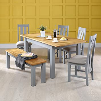 Manor Grey Painted Dining Table With 4 X Chairs 1 X Bench Set