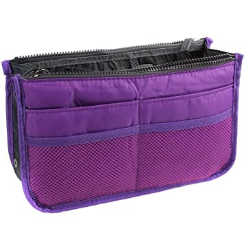 ccb30f0717bc Amazon.com   Eforstore Travel Makeup Insert Handbag Organiser Tidy Cosmetic  Pocket Purse Zipper Bag Toiletry Bags for Women Men Girls Boys Kids Adults  Teens ...