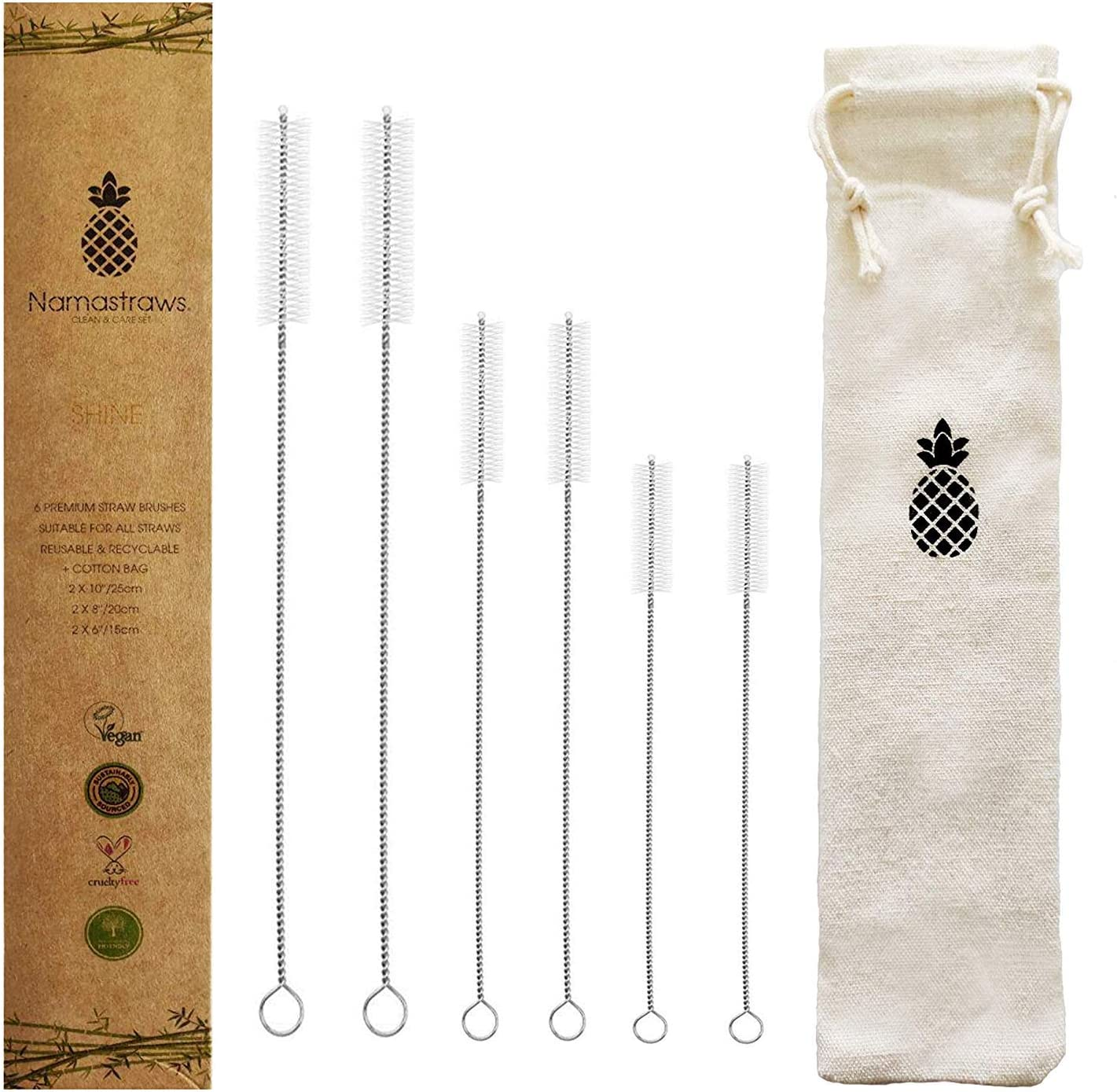 Drinking Straw Cleaning Brush Set - Long Pipe Cleaners - 3 Sizes 6'' 8'' 10'' Suitable for All Straws - Tumbler, Sippy Cup, Water Bottle - Set of 6 Namastraws Shine