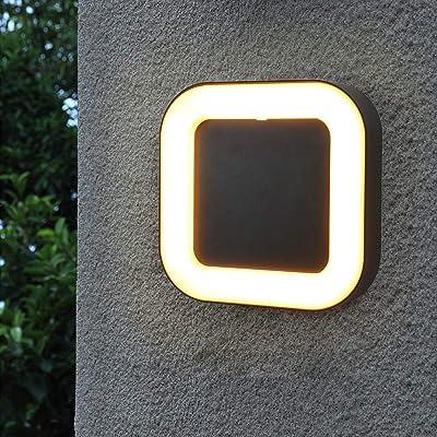 Shinbeam Outdoor Wall Fixture 3-Color-Changeable Wall Porch Light IP65 Black Metal Matte Sconce Warm White Cold White and Nature White Color(Black): Home Improvement