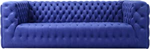 Pasargad Home Vicenza Collection Velvet Tufted Sofa (Blue)