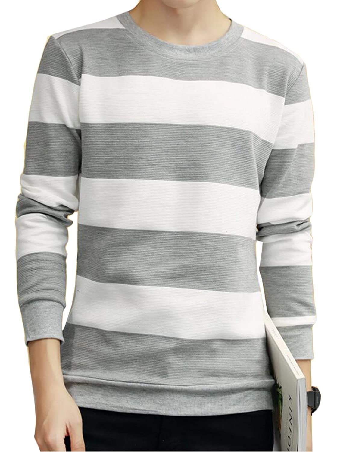 Unko Men's Striped Casual Long-sleeved Pullover T-shirts