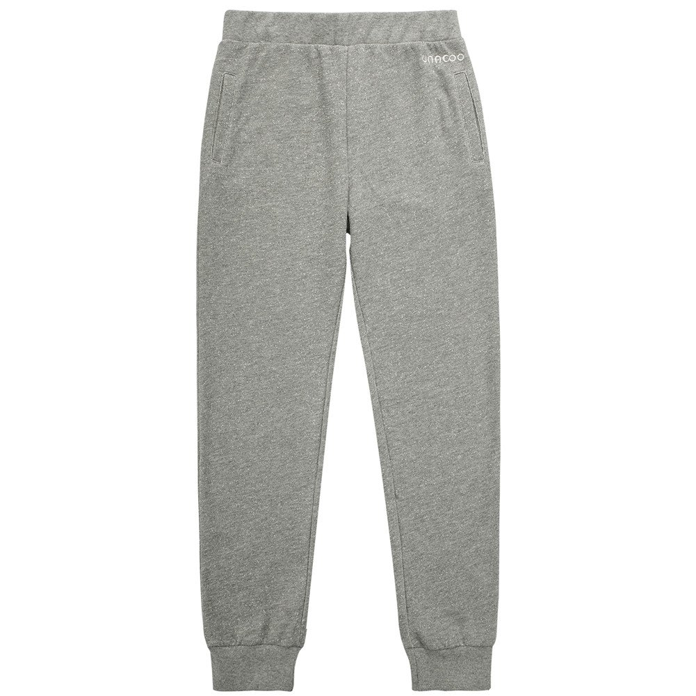 UNACOO Boys Casual Soft Fleece Terry Cotton Pull-on Jogger Pants with 2-Pocket (Grey, XL(11-12T))