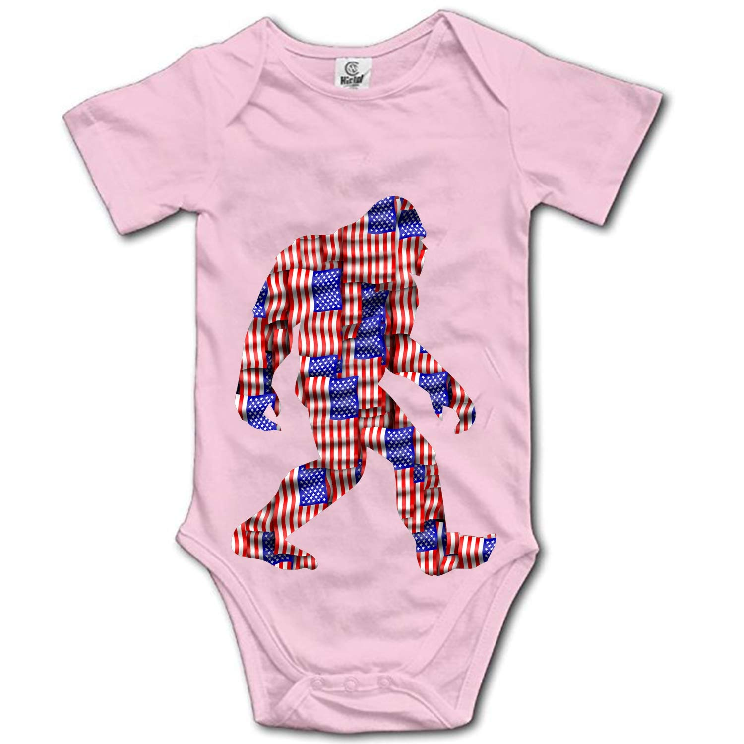 Unisex Baby USA Washington Flag Bigfoot Funny Bodysuits Rompers Outfits 100/% Cotton
