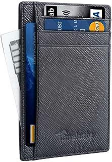 Travelambo bolsillo frontal minimalista Cartera Piel, Slim Wallet Money Clip RFID bloqueo (Negro)