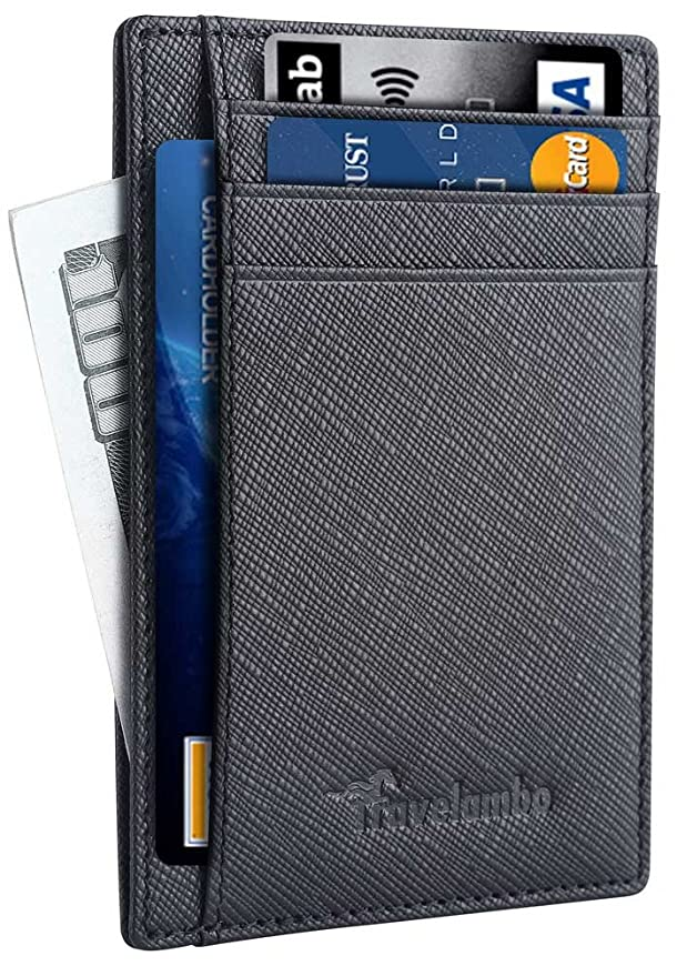 Travelambo Front Pocket Minimalist Leather Slim Wallet RFID Blocking Medium Size(04 crosshatch black) best men's RFID wallets