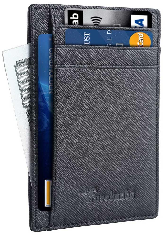 Travelambo Front Pocket Minimalist Leather Slim Wallet RFID Blocking Medium Size(crosshatch black) by Travelambo (Image #5)