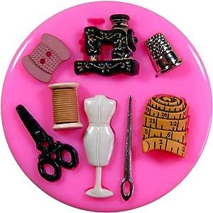 Tijeras de costura Maniquí Día de madres Molde de silicona para la torta de Decoración Pastel de Cupcake Toppers Glaseado Sugarcraft Tool por Fairie Blessings: Amazon.es: Hogar