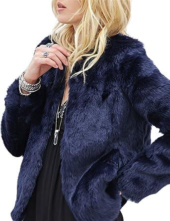 d8075a5f2e HaoDuoYi Womens Solid Winter Warm Long Sleeve Outerwear Faux Fur Short Coat (XXL,Dark