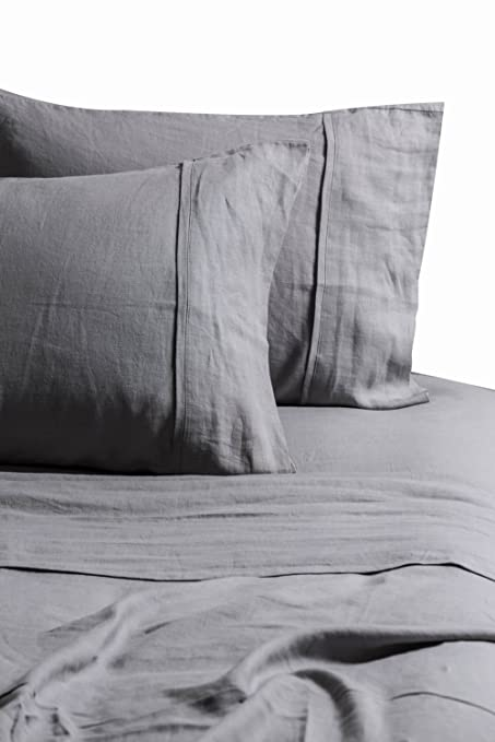 MEADOW PARK Pure Linen Sheet Set 4 Pieces, 100% French Flax Linen Bedding  Set