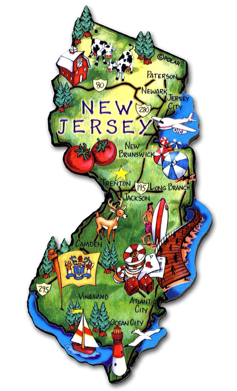 New Jersey State Decowood Jumbo Wood Fridge Magnet 4