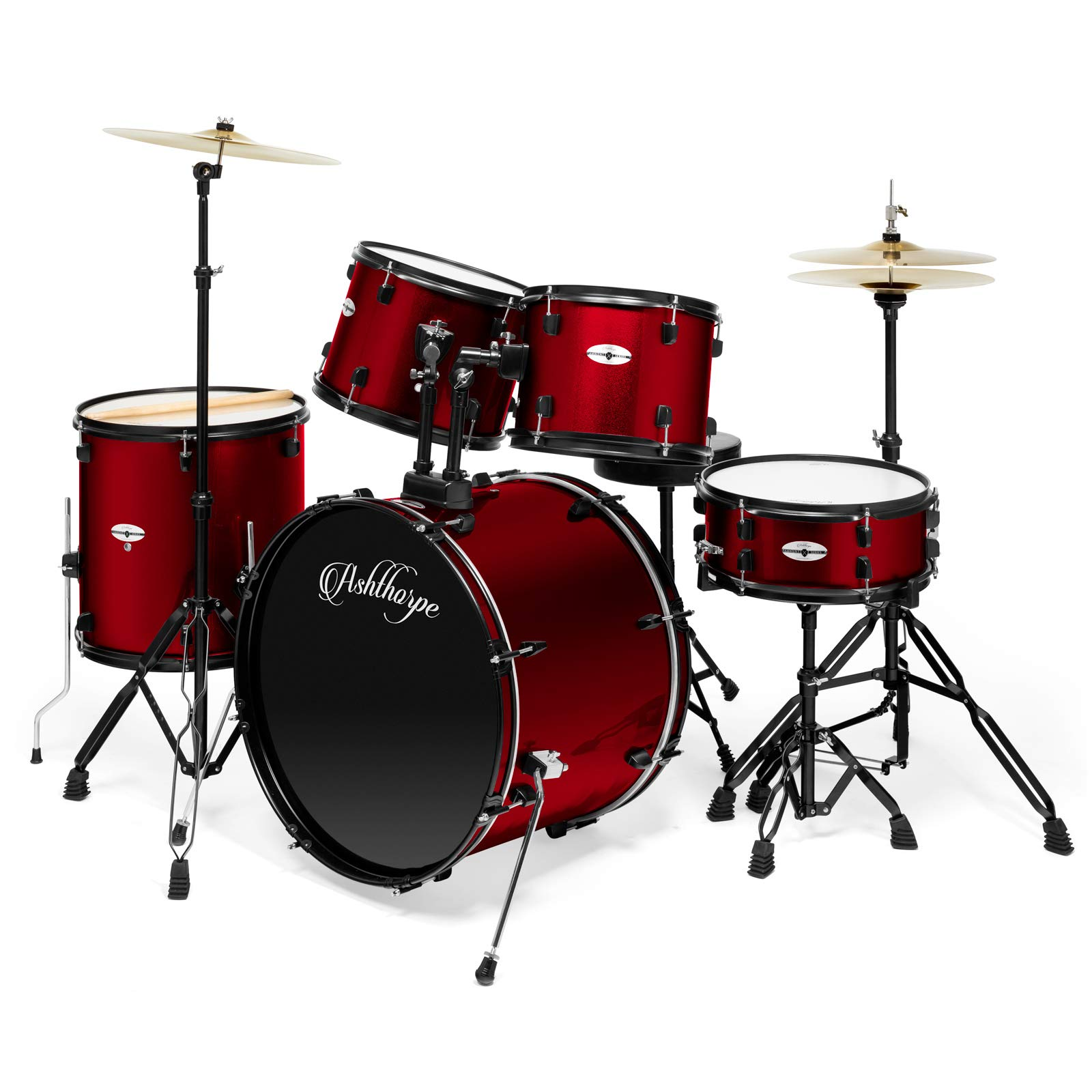 Ashthorpe 5-Piece Complete Full Size Adult Drum Set with Remo Batter Heads - Red by Ashthorpe
