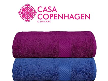Casa Copenhagen 430 GSM Combed Cotton Eternal Bath Towel Set, 60 X 120 cm (Pack of 2)(Midnight Blue & Purple)
