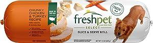 Freshpet Dog Food, Slice and Serve Roll, Chunky Chickem and Turkey Receipe, 24 Oz