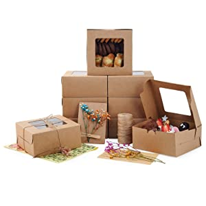 Cupcake Boxes 50 Pack, SAMENGD Brown 6x6x3 Inch Cake Boxes with Window for Strawberry, Cookies,Muffins, or Pastries. Small Bakery Boxes, Including DIY Cards and Decorative Bouquets