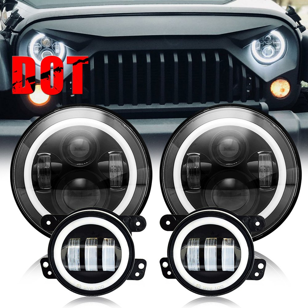 """Amazon.com: AUSI DOT Approved 7""""inch Jeep LED Headlights White Halo DRL  Amber Turn Signal Lights High/Low Beam + 4 inch LED Fog Lights with Halo  Ring For ..."""