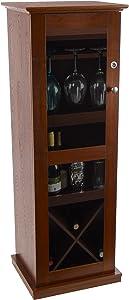 Atlantic Herrin Locking Bar Cabinet - Store 16 Wine Bottles, Liquor Shelf, 9 Wine Glasses and More PN38408116 in Textured Chestnut