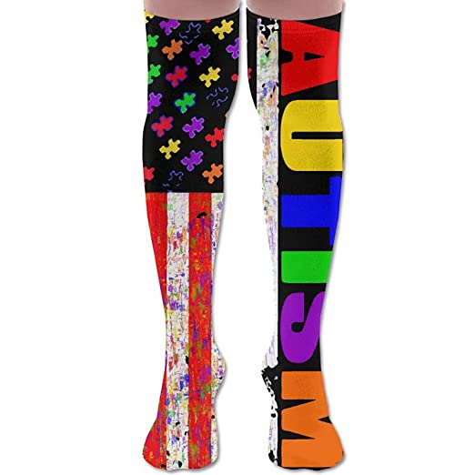 c6da46f604cde Image Unavailable. Image not available for. Color: Retro Autism Awareness  USA Puzzle Flag Unisex Over The Knee High Socks ...