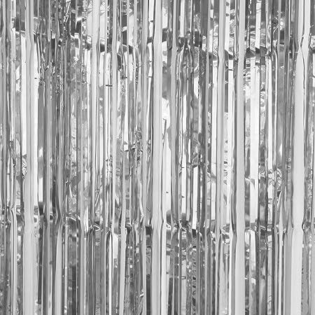 SUNBEAUTY Big 3ft X 8ft Fringe Foil Curtain Party Tinsel Backdrop Wedding Decoration Silver