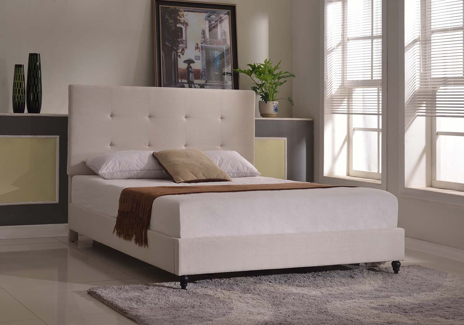 Life Home Cloth Light Beige Cream Linen Platform Bed with Slats Full – Complete Bed 5 Year Warranty Included