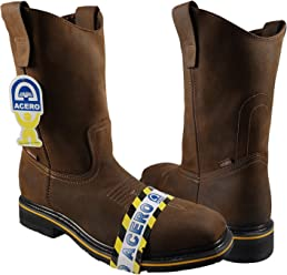 ESTABLO Mens Rodeo Work Boots Color Tan Steel Toe