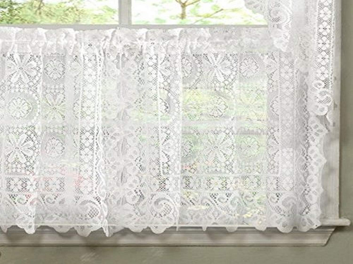 """Sweet Home Collection Old World Style Floral Heavy Lace Kitchen Curtain, 24"""" Tier, Hopewell White"""