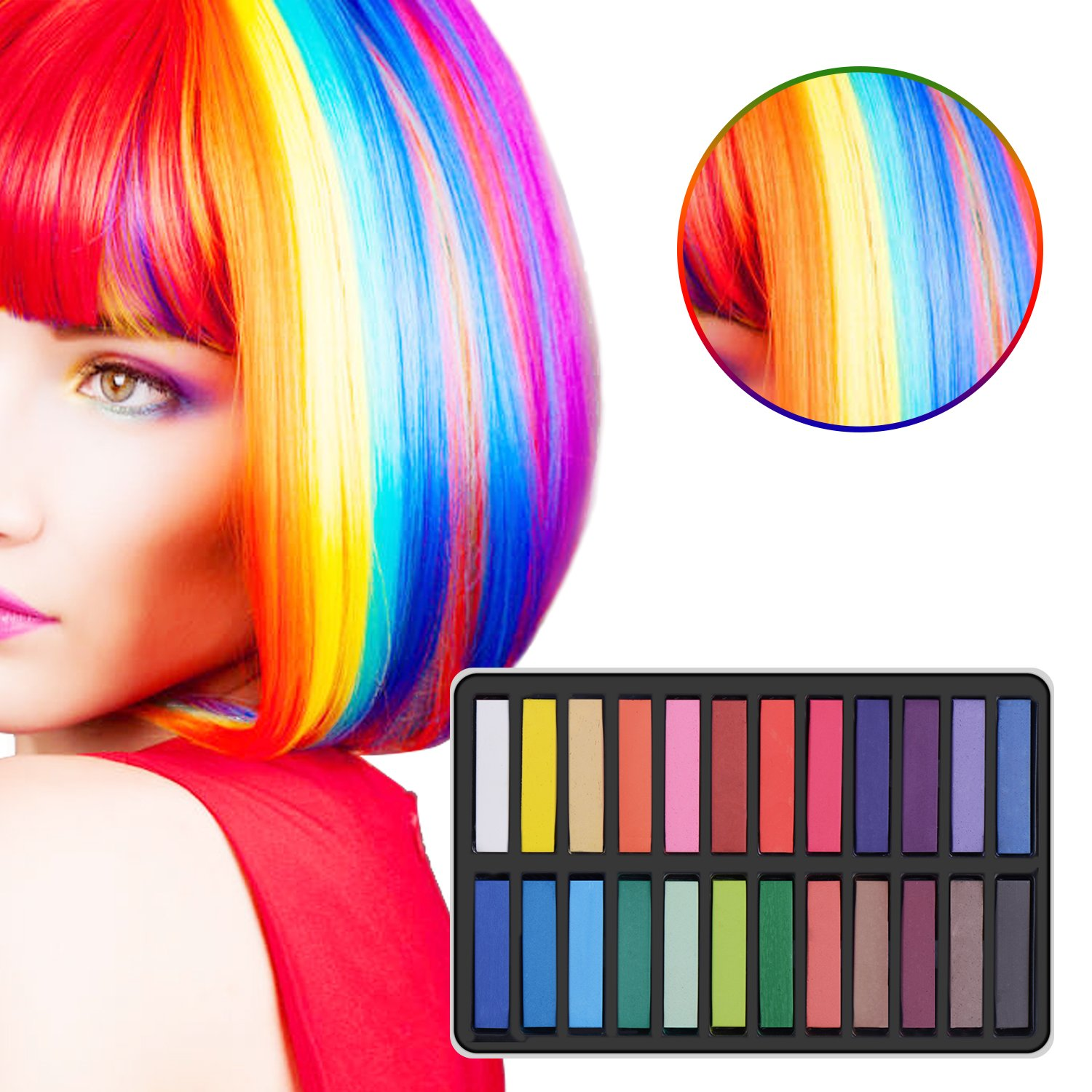 Ameauty Non-Toxic Temporary Washable Hair Chalk Set for Party, Cosplay and Gift, Works on All Hair (24 pcs)