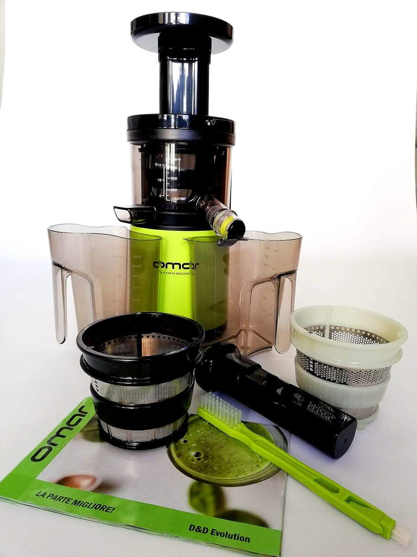 Perfect Slow Juice Ricettario incluso Estrattore Succo Verdura Sorbetto Spremitura Lenta 43 Giri//Min 3 cestelli succo-smoothie-sorbetto Estrattore di Succo a Freddo Professionale