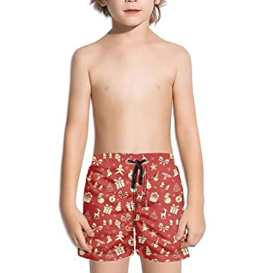 Boys Board Shorts Christmas Reindeer Snowflake red Quick Dry Bathing Suits  Beach Board Shorts f8cab5b01