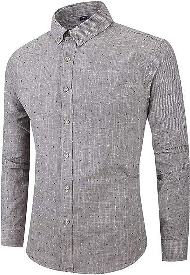 Heetey - Camisa de Manga Larga con botón para Hombre, Estampado de Puntos, Blusa Informal, Camisa a Cuadros, Camisa de Ocio, Camisa a Cuadros, Camisa de Madera, Camisa para Hombre: Amazon.es: Ropa