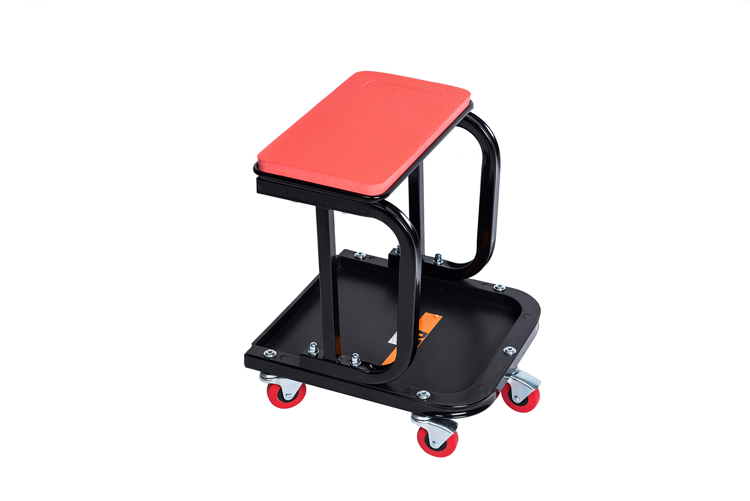 RTJ 300 lbs Capacity Mechanic Roller Seat with Removeable Cushion D-Frame Rolling Stool, Red