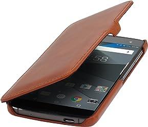 StilGut Book Type avec clip, housse en cuir pour BlackBerry DTEK60 avec fonction smart-cover. Etui de protection à ouverture latérale avec fermeture clipsée à fonction sleep-wake, en cognac