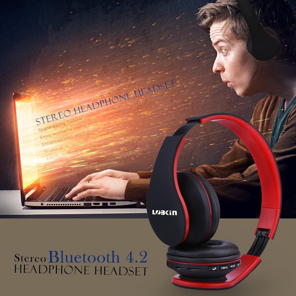 Cuffie Bluetooth LOBKIN Auricolari Stereo con Microfono Bluetooth 4.1 Pieghevole Over-Ear Senza Fili Cuffie con Microfono Ricaricabile Riduzione del Rumore Interno Supporto SD/TF Card (red)