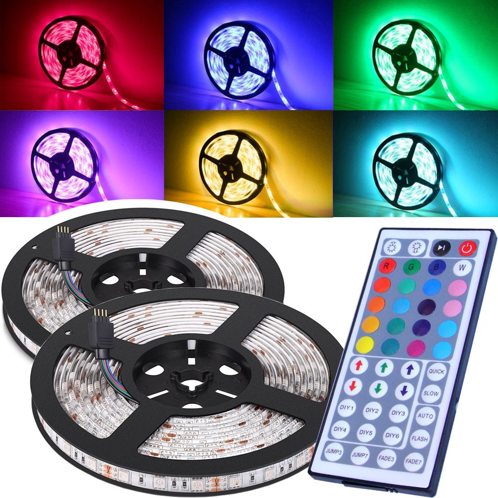 Magic BEAM Waterproof LED Strip Lighting 10M 32.8 Ft 5050 RGB 300 LEDs Flexible Color Changing Full Kit 44 Keys IR Remote Controller + Control Box + Power Supply Indoor Outdoor Landscape Decoration